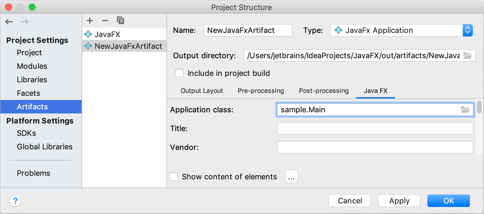 Creating a new artifact configuration: specifying the main class