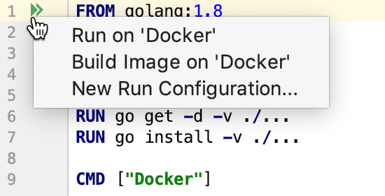 The Run on Docker popup