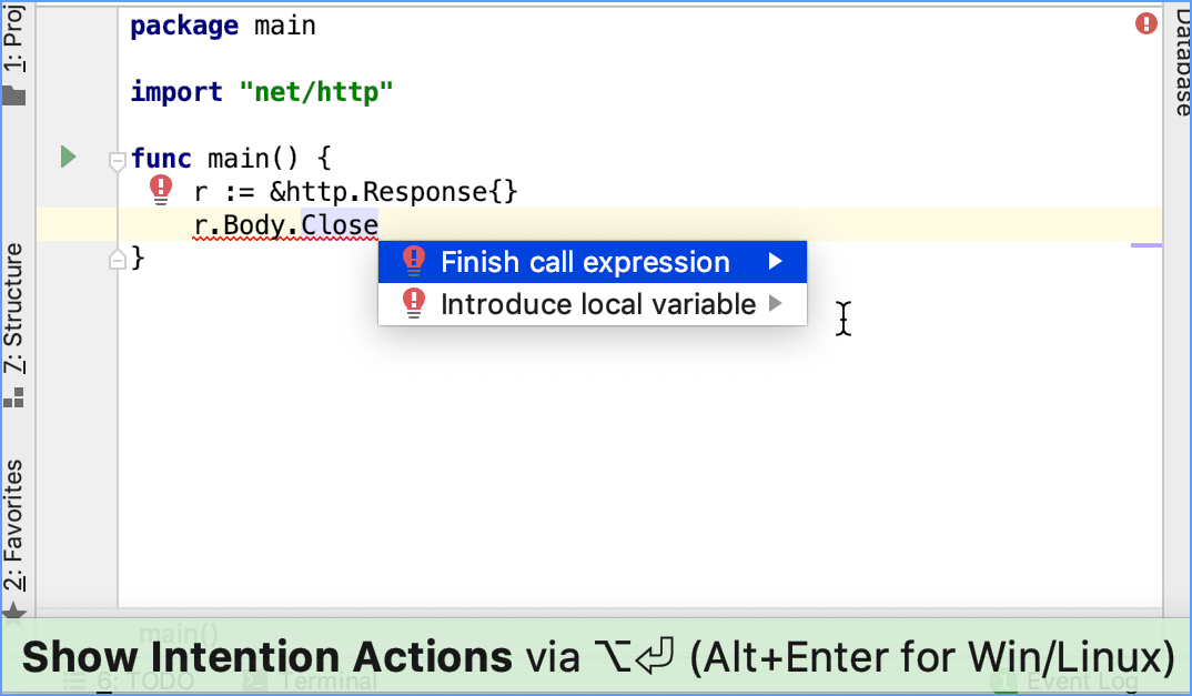 Using the Finish call expression quick fix