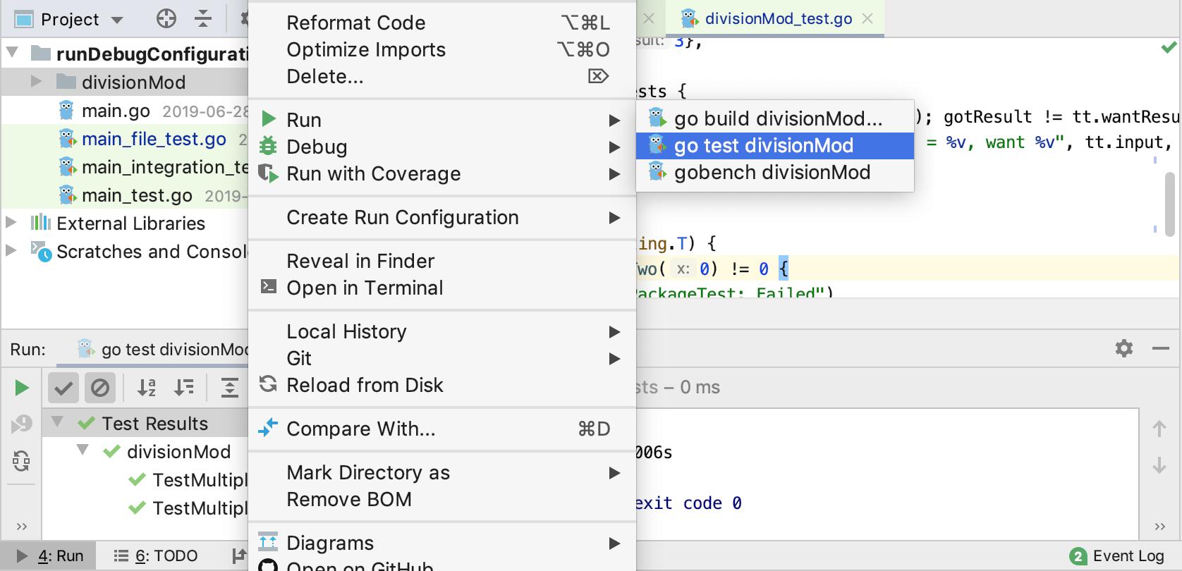 Run a test from the context menu