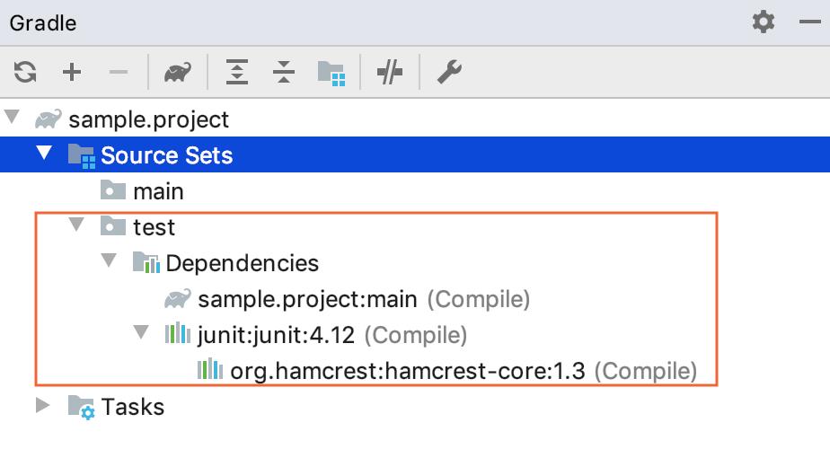 Gradle tool window: source set