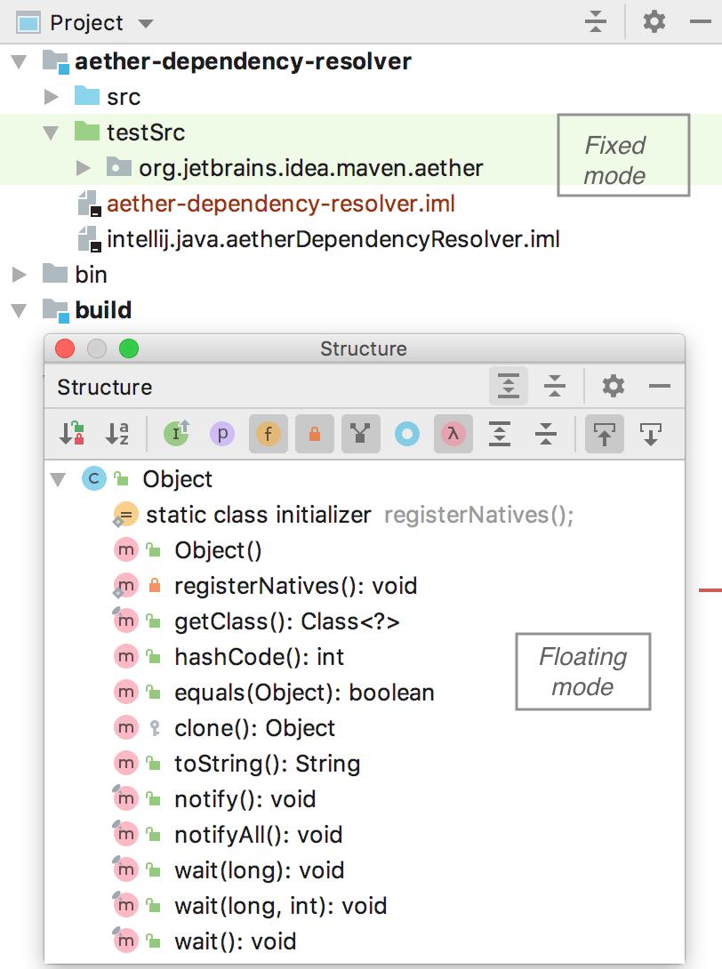 Tool window modes: fixed, floating, window