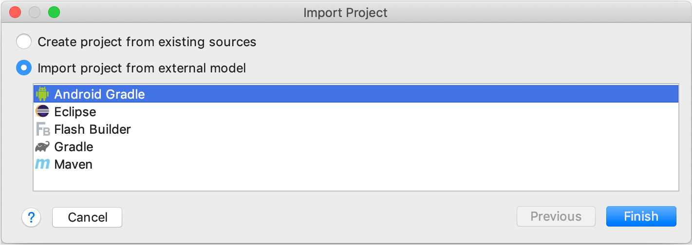 Importing a project from Android Gradle
