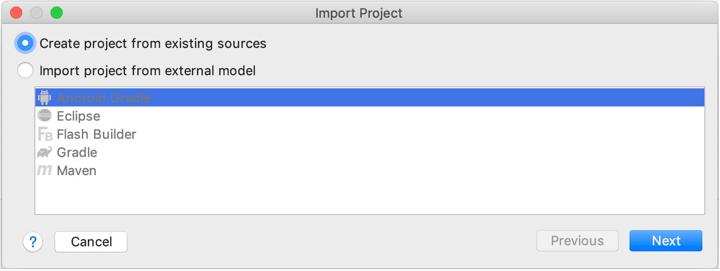 Creating a project from existing sources