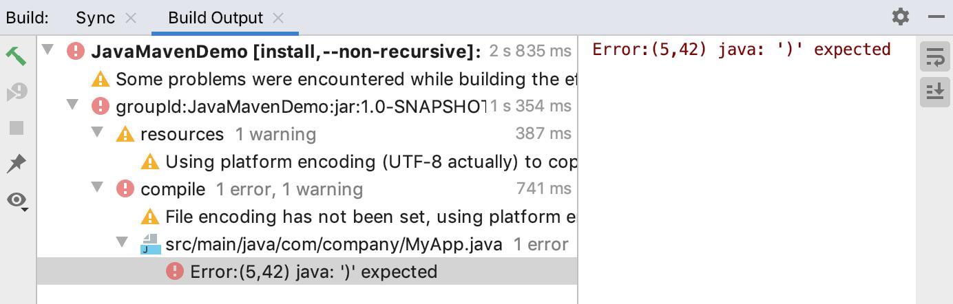 Build tool window: error navigation