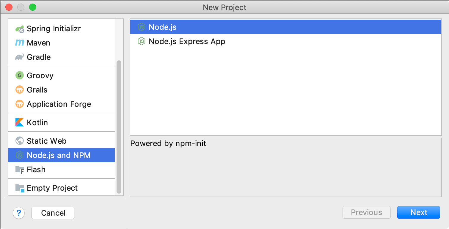 Creating a new Node.js project