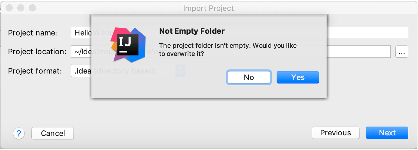 A popup warning you that the folder will be overwritten