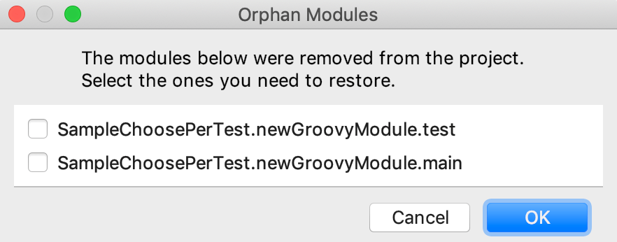 Orphan modules dialog
