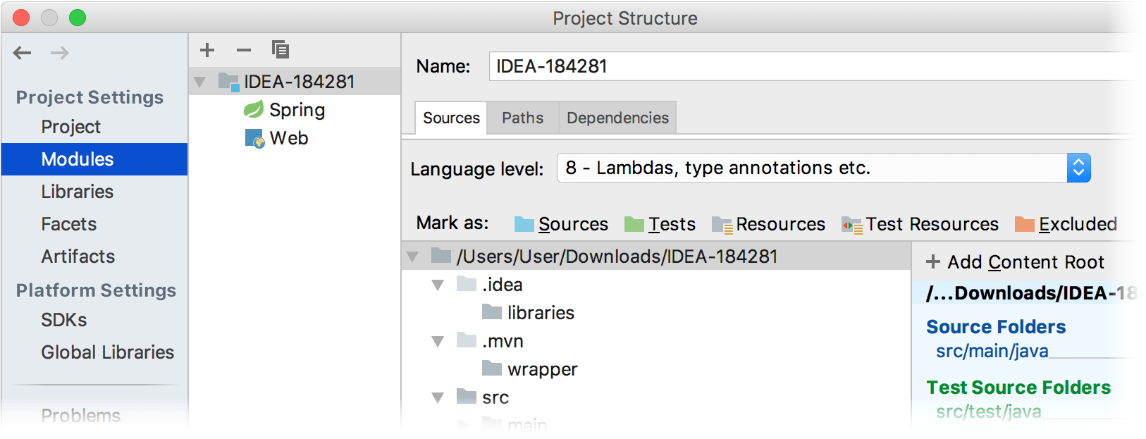 project structure modules