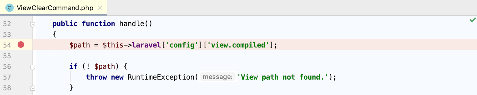 Set a breakpoint in a Laravel command