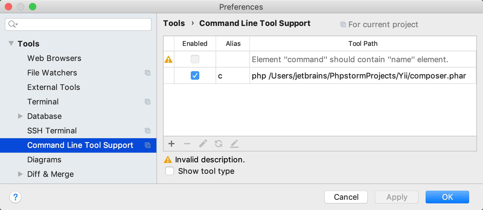 CLI tool validation error