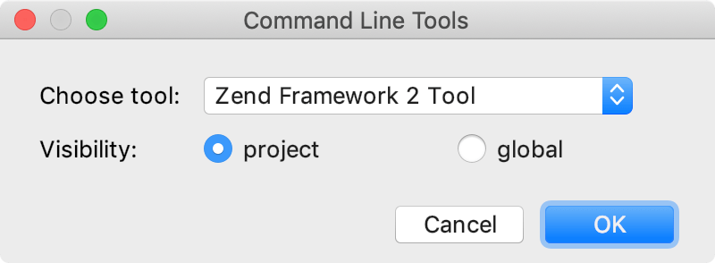 the Command Line Tools dialog