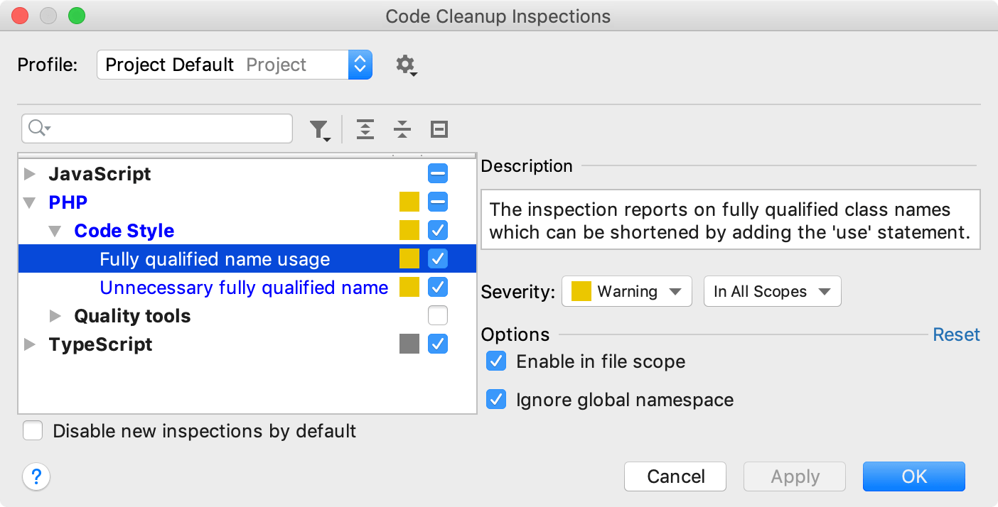 the Code Cleanup Inspections dialog: FQN Inspections