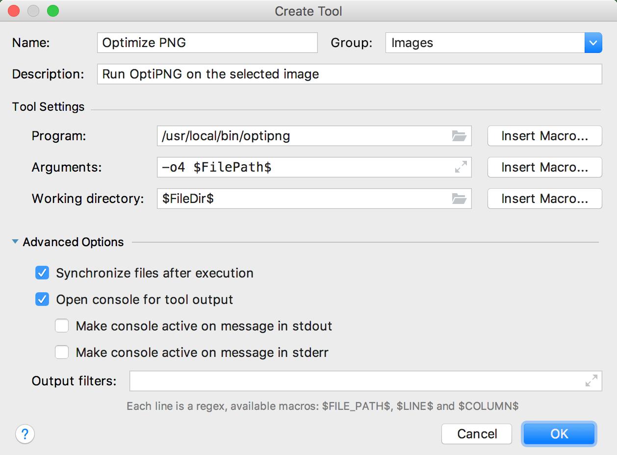 The Create Tool dialog