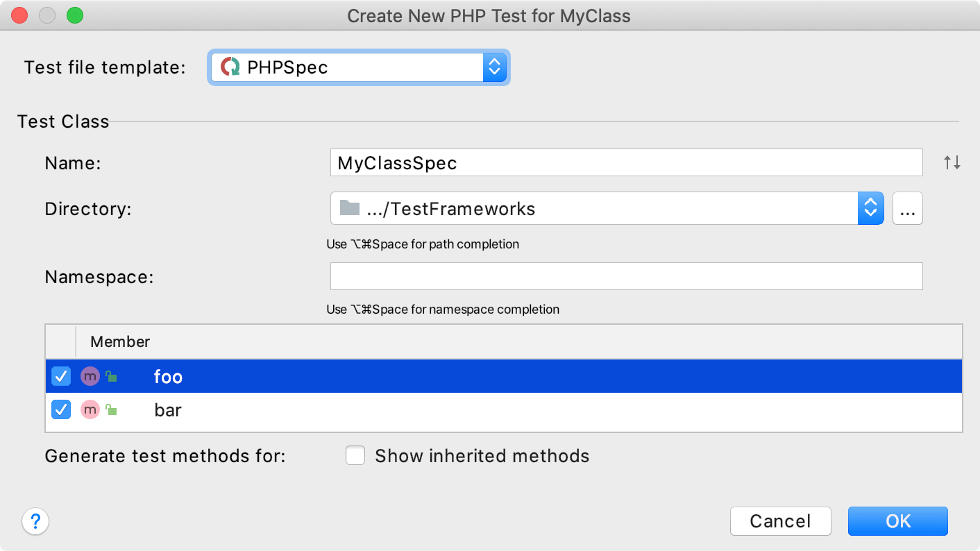 the Create new phpspec test dialog