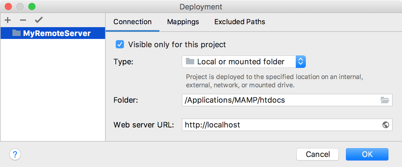 Deployment Connection Tab
