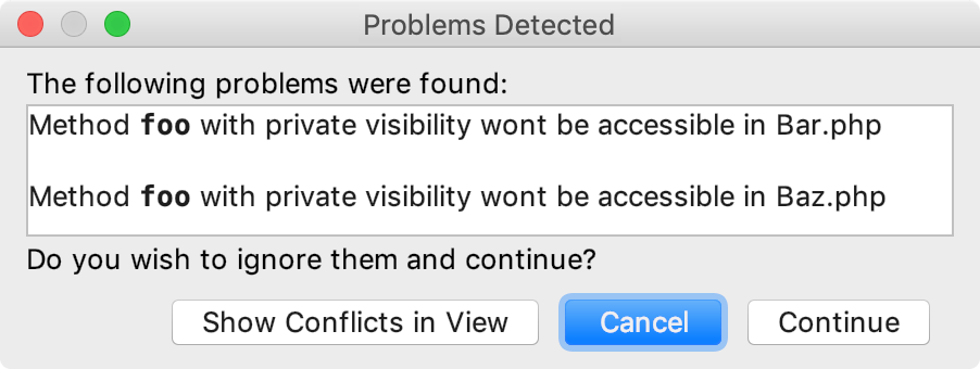 Refactoring conflicts dialog