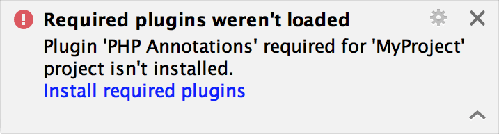 Required plugin not installed warning