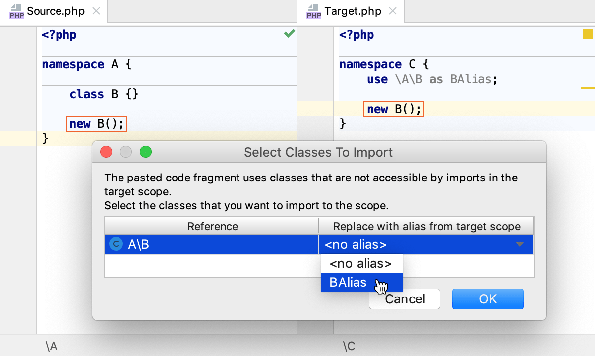 the Select Classes To Import dialog: reuse existing alias