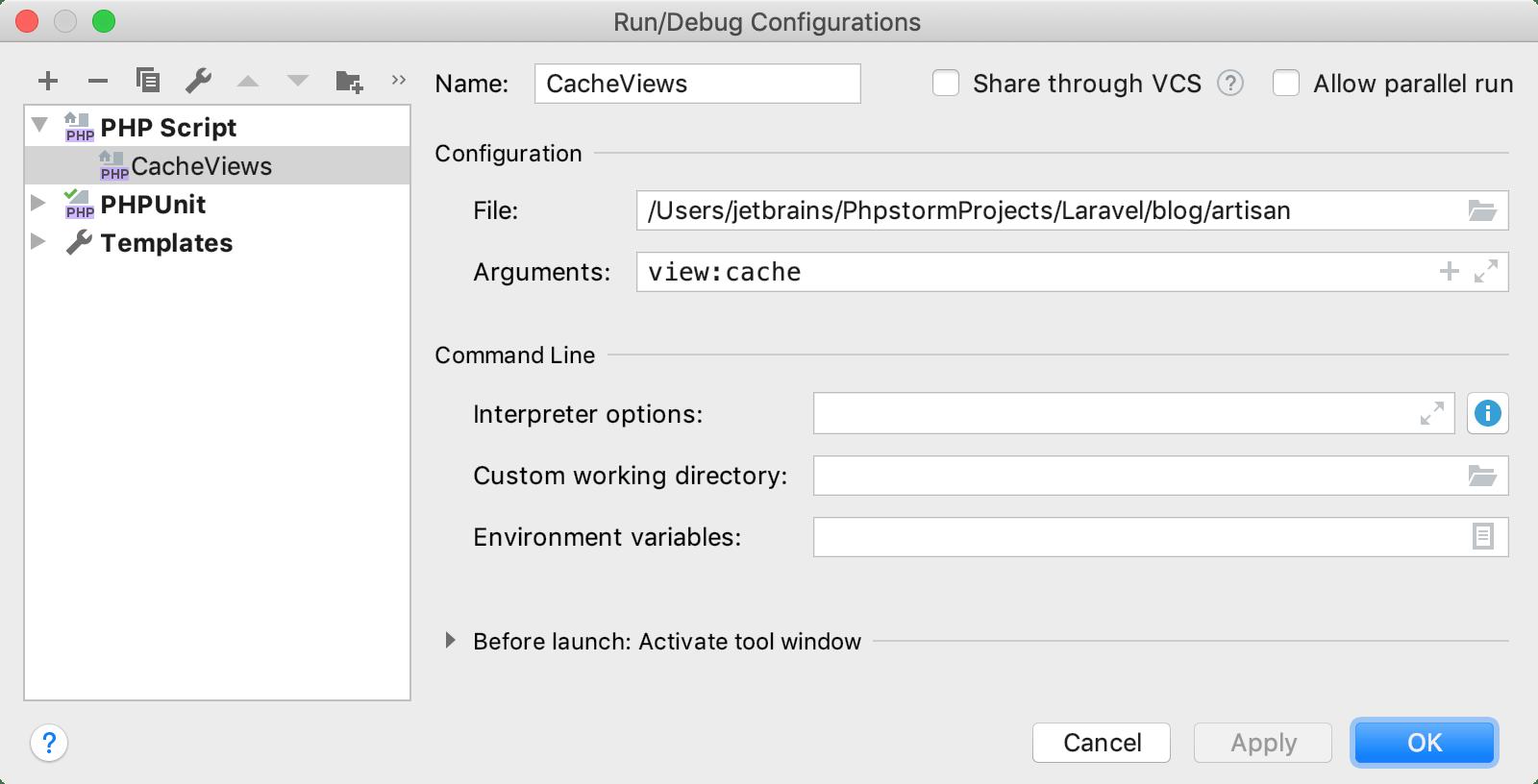 Run/Debug Configurations dialog for Laravel CLI command