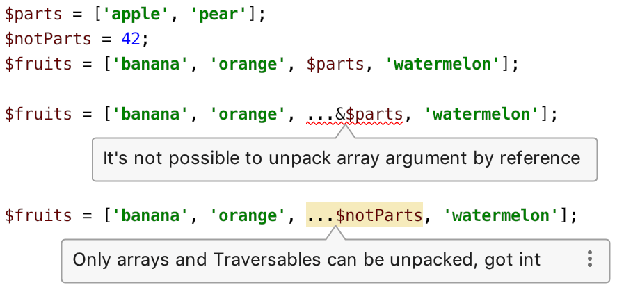 Spread operator in arrays inspections