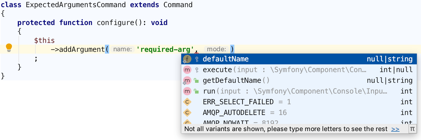 Code completion before Expected Arguments is set