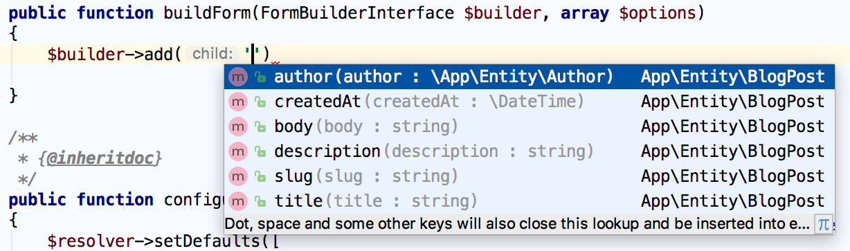 Symfony form builder field name completion