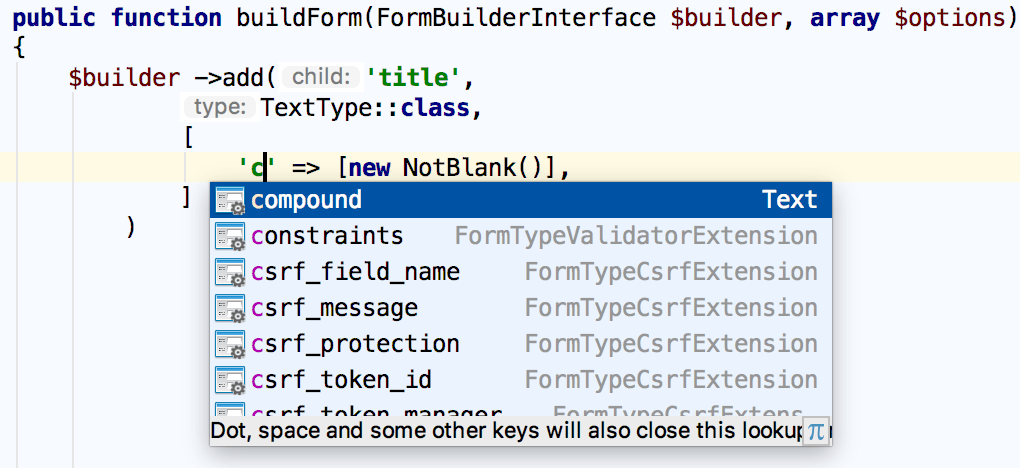 Symfony form builder field parameters completion