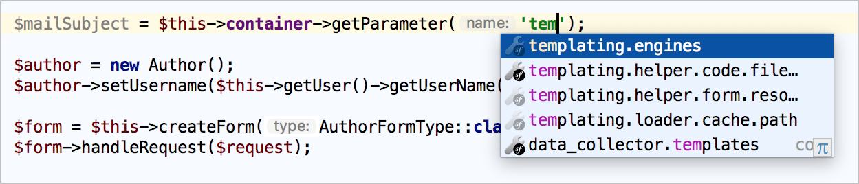Symfony service parameters completion