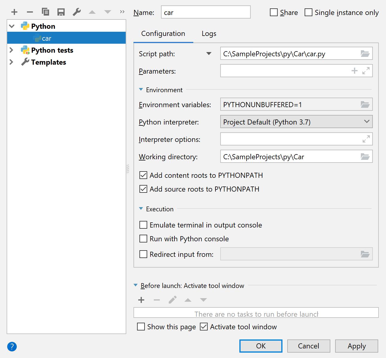 Run/Debug configuration