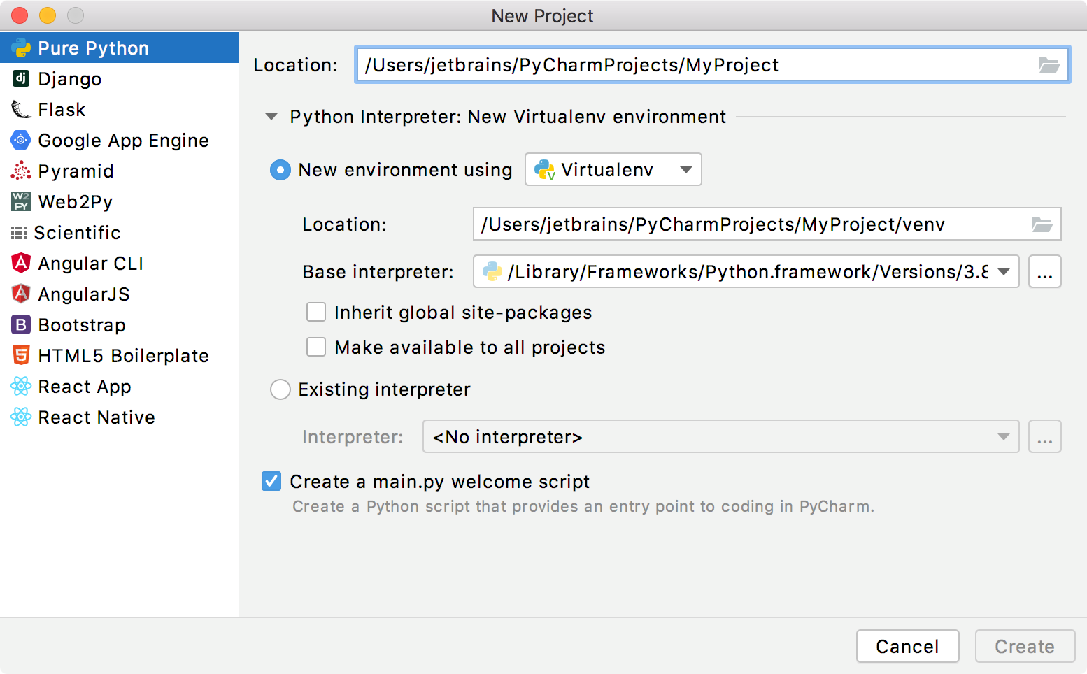 Creating a PyCharm helps implement new project