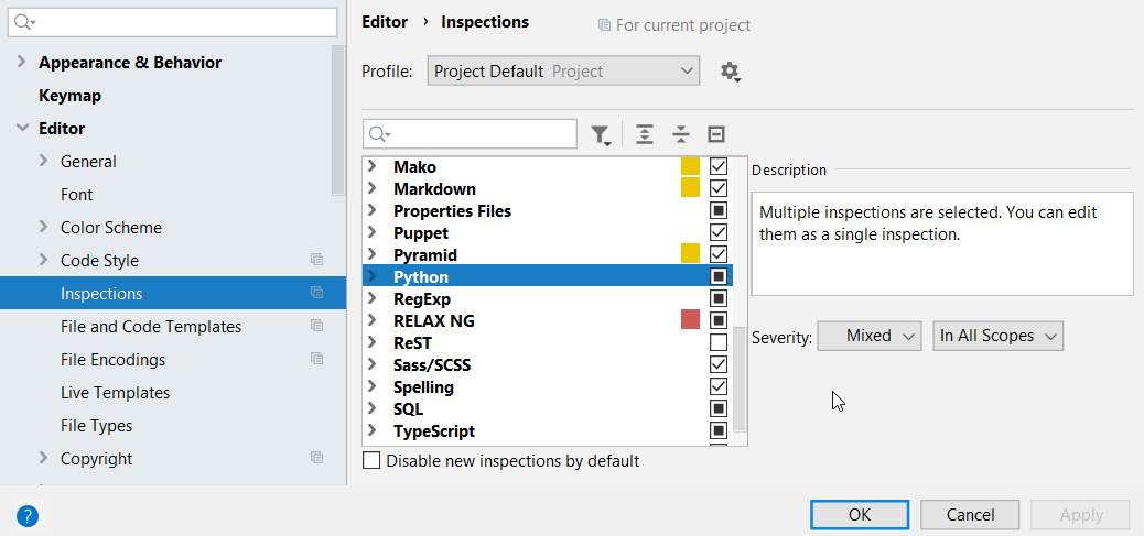 The list of inspections and their settings
