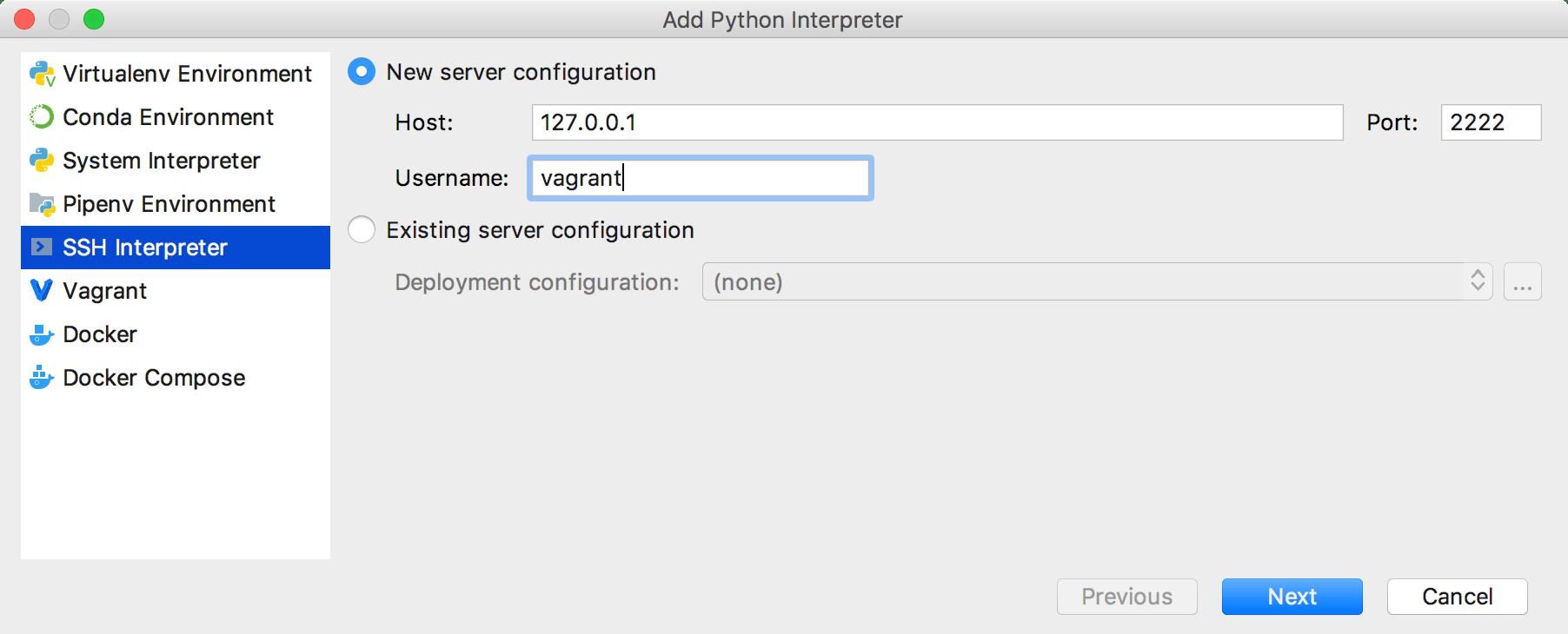 adding an interpreter via SSH