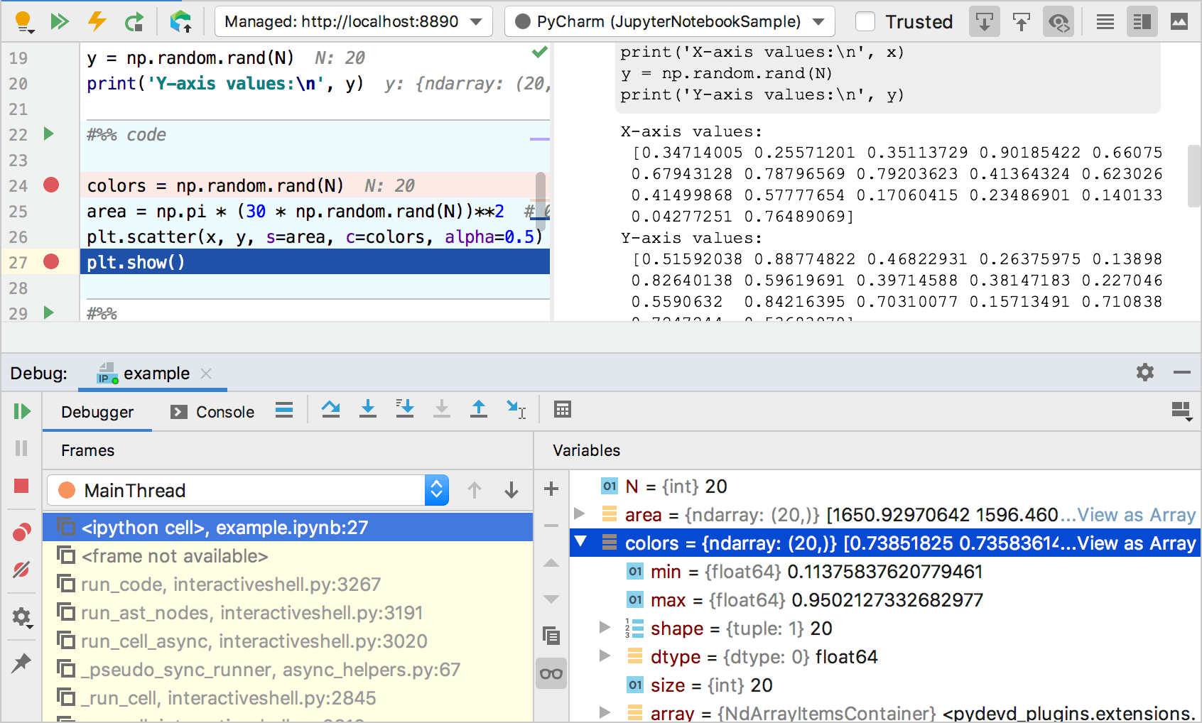 Stepping over in the Jupyter Notebook Debugger