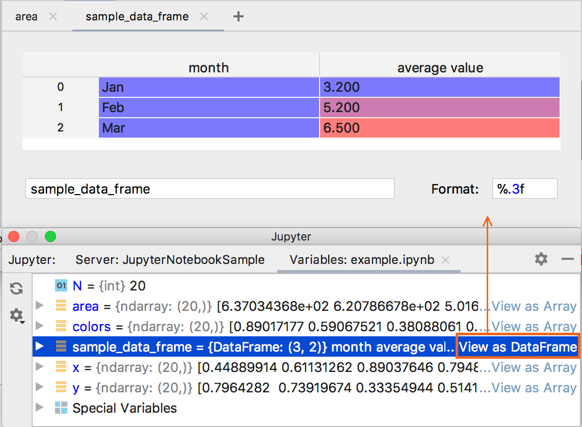 Viewing variables as array