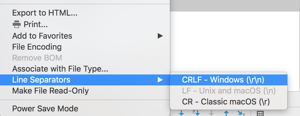 Line separator menu