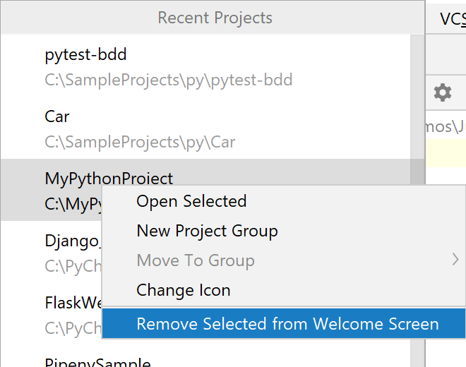 Remove a project from the list of the recent projects on the Welcome Screen