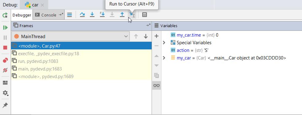 Run to cursor