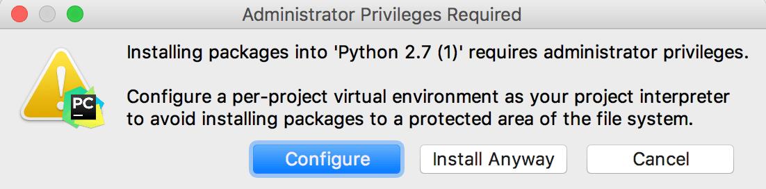 System Interpreter warning message