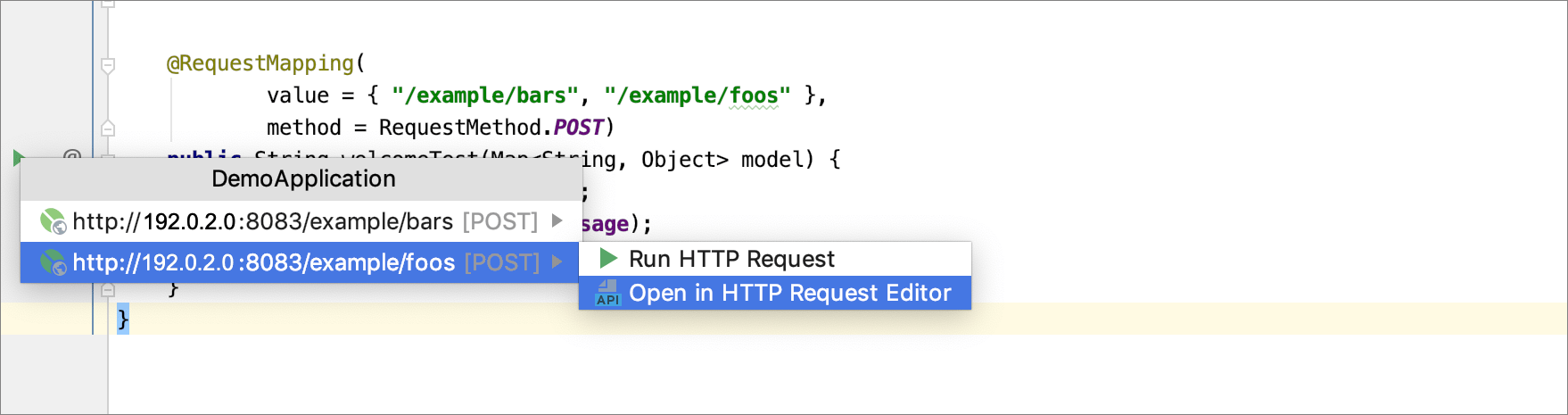Opening HTTP request mappings in the Request editor