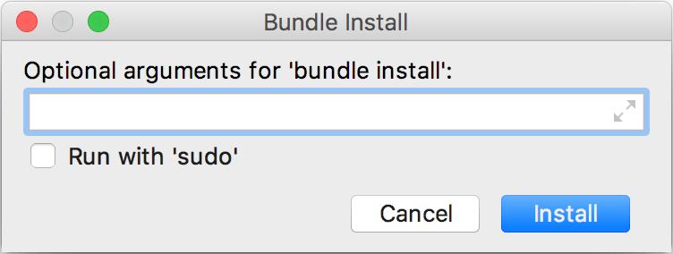Bundle Install dialog