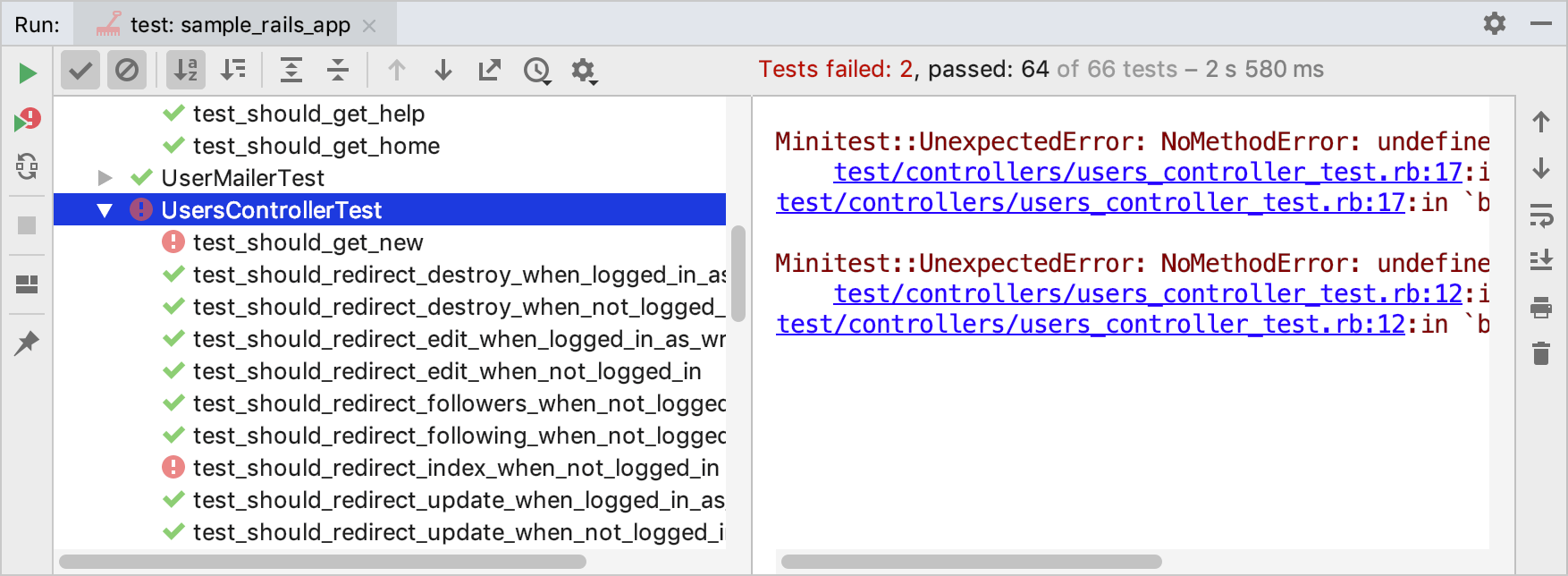 Failed tests