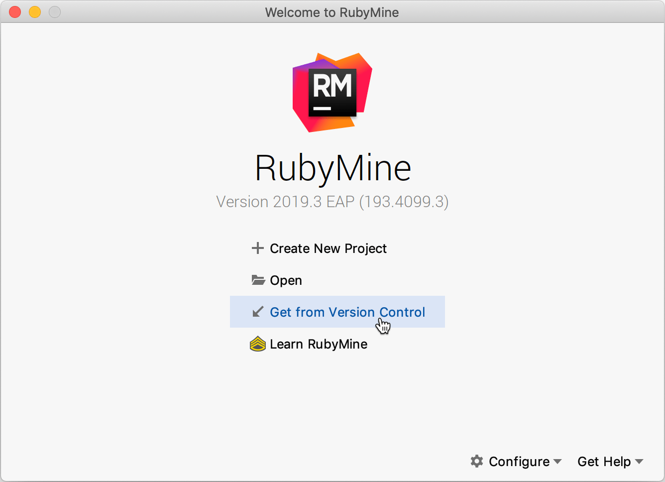 Welcome Screen / Get from Version Control