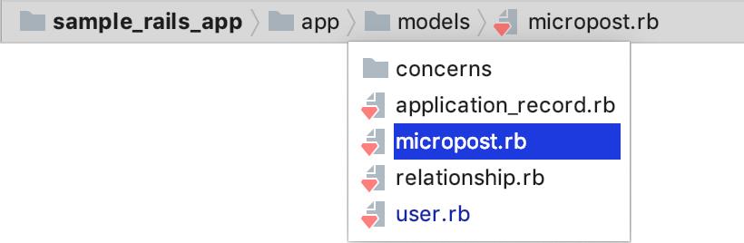 RubyMine navigation bar