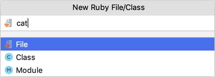 New Ruby File/Class dialog
