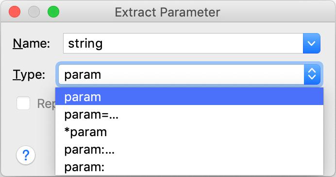 Extract Parameter dialog