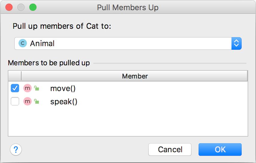 Pull Members Up dialog