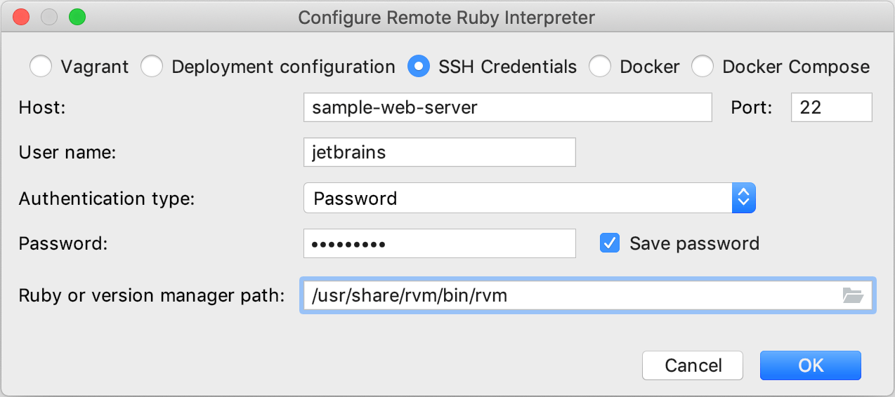 Configure Remote Ruby Interpreter