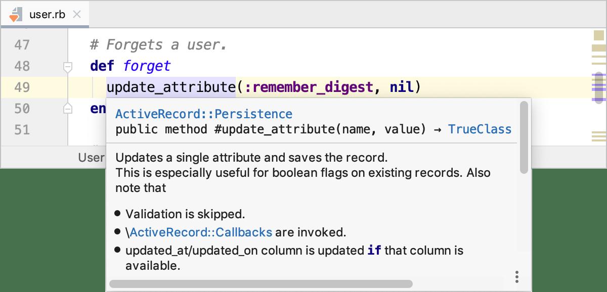 Quick Documentation popup