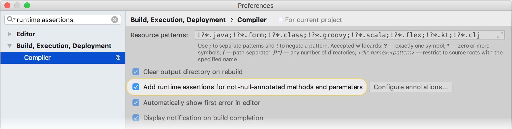 runtime assertions